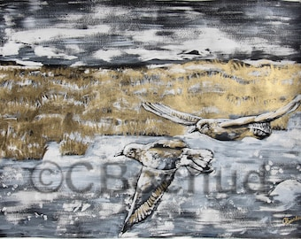 Plovers at Kamouraska, paint, ink and gouache gold, canvas, original, animal, nature