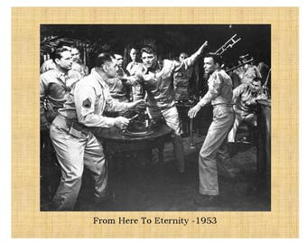 "From Here To Eternity 1953 Burt Lancaster Montgomery Clift Frank Sinatra 8""x10"" Glossy Photo with Faux Matte Border"