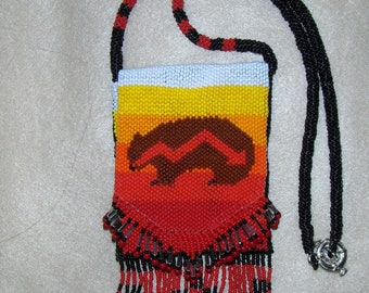 Brother Bear beadwork pouch