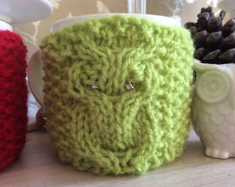 Lime green owl mug cozy, cosie, coffee cup cosy, quirky fun gift