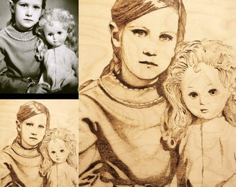 Portrait from photo, pyrography, burning