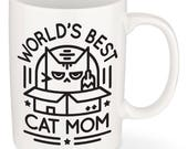 Cat Mom Mug - World's Best Cat Mom - Great Mother's Day Gift for Cat Lovers