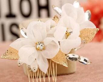 Satins flower comb,Flower gold comb,Wedding hair comb,Gold hair comb,bridesmaid hair comb,Bridal hair comb