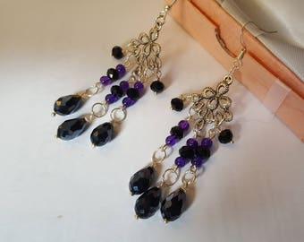 purple and black dangle earrings