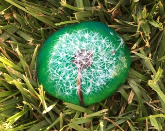 Dandelion, painted,  stone, painted rock, weed, decoration, paperweight, pet rock, gift, unique, garden, make a wish