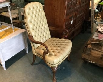 Vintage Leather Tufted Queen Ann Style Arm Chair. Classic Tufted Leather Desk Armchair.