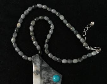 Sold: Black and white jadeite jade beaded necklace with pendant (Sold Out)