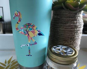 Flamingo Decal, Vinyl Flamingo, Yeti Decal, Yeti Sticker, Water Bottle Sticker, Car Sticker, Flamingo, Lilly Inspired, Lilly, Bright Sticker