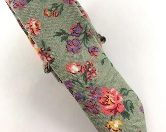 Vintage Floral Green Toddler Tie