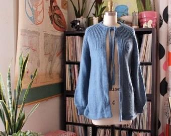vintage 1970s knit cardigan by Kimlon . open front slate blue cardigan sweater . womens fuzzy acrylic cardigan