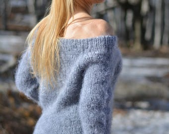 READY handmade dress knitted mohair dress ribbed sweater hand knitted dress boatneck dress off shoulder spring sweater long pullover Dukyana