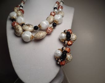 1950's-1960's Bead Set with Earth Tones Signed Deauville