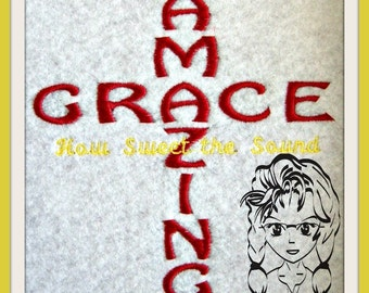 AMAZING GRACE How sweet the sound Cross ~ Downloadable DiGiTaL Machine Embroidery Design by Carrie