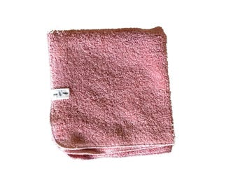 Plant dyed, Organic cotton washcloth in Rose. Super plush, nourish with nature. Vegan and sustainable bathing