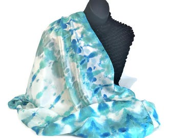 Silk Scarf handpainted - turquoise, blue, white colors - Shibori style, fashion, unique design 42x42 in