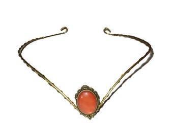 Brass elfish tiara circlet with red/orange cat's eye.