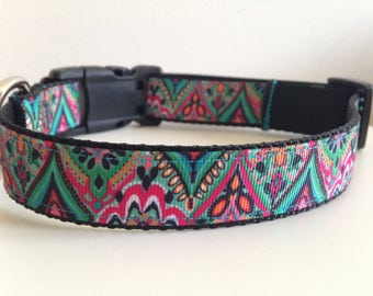 Pink Teal and Black Bohemian Floral Print  1 inch Large Dog Collar