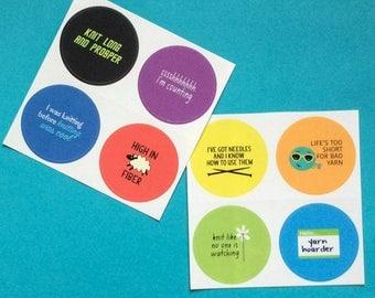 Knitting Stickers, Yarn Hoarder, Knitter, Set of 8
