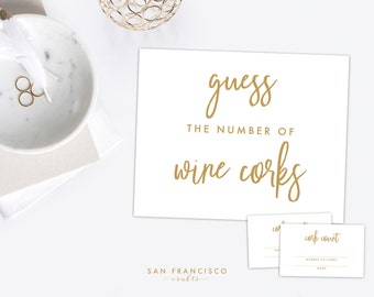 Guess How Many Wine Corks Game - Sign and Tickets - Bridal Shower - Bachelorette Party Game - Samantha Collection - Instant Download PDF