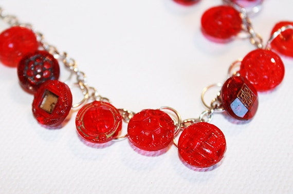 Vintage Red Glass Button Bracelet - Button Chain Bracelet - OOAK