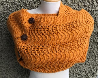 Fan and Feather Yellow Ochre Mega Cowl with Buttons