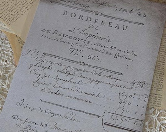 Reproduction Old French Document for Home Decor or Paper Art