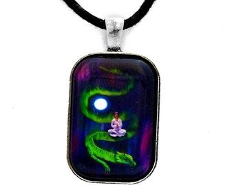 Quan Yin Pendant Dragon Necklace Boddhisattva Aurora Borealis Moon Stars Northern Lights Boho Zen Guanyin Kuan Yin Goddess Handmade Jewelry