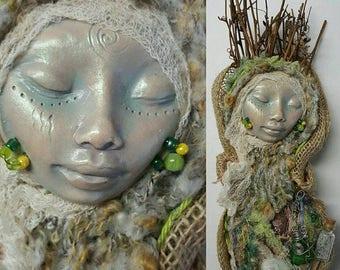 Ancient Goddess, Nature Spirit, Art doll, Kitchen Witch, Rustic Home Décor, Prosperity Art Doll, OOAK Art Doll, Assemblage.