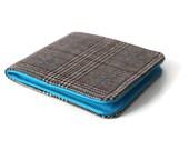 Mens Plaid Wool Wallet / Grey Houndstooth Tweed / Minimalist Billfold