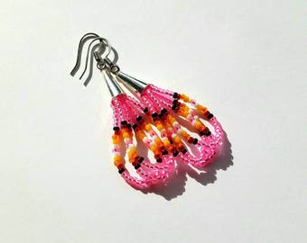 Native American Beaded Pink Dangle Earrings