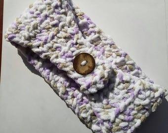 Fuzzy White, Purple & Gray Ear Warmer