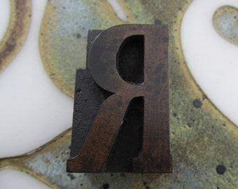 Letter R Antique Letterpress Wood Type Printers Block