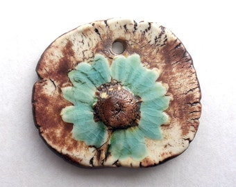 Daisy Pendant Porcelain Ceramic Turquoise Crackle by Mary Harding