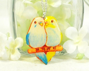 Bird Necklace Lovey and Dovey Love Birds - Parakeet Pendant - Bird Jewelry - Blue and Yellow Parakeet Jewelery - Budgie Necklace