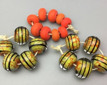 Handmade Glass Beads in Lime and Orange