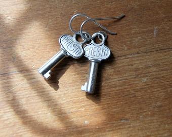 Mini Key Earrings - Steel Key Earrings - Vintage Key Earrings - Antique Key Earrings - Small Vintage Key Earrings