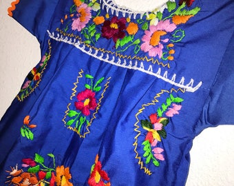 Mexican Embroidered Baby Dress Blue Orange Rickrack - Size 12 months