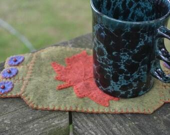 Autumn Leaf, Coffee Coaster, Fiber Art, Fall leaves, Handmade Penny Rug, Fall Mug Rug