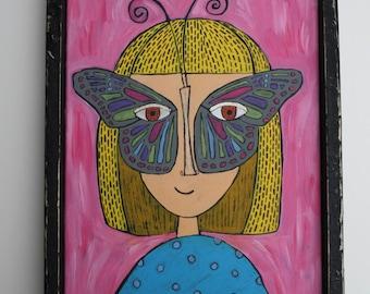READY TO SHIP Folk art painting, butterfly mask, 11 x14, canvas, original painting, acrylic paint, folk art