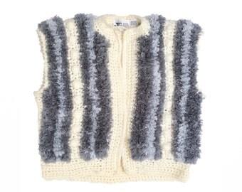 SALE 80s Shag Knit Vest   Pockets Medium Large