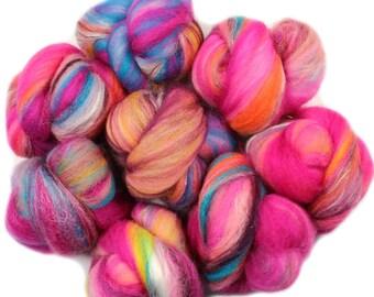 Bubblegum -- battlings -- mini batts (2 oz.) organic polwarth wool, bamboo, silk, sparkle