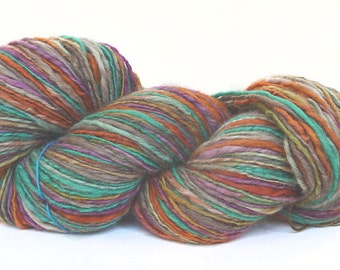 Handspun Yarn handdyed yak and superfine merino wool, hand spun yarn, singles yarn