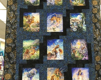 Zodiac Quilt, Celestial quilt, lap quilt, Zodiac Signs, Astrology Quilt, cotton quilt, patchwork quilt, astrological, twin size,