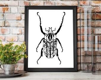 Beetle Luck Original Ink Drawing - Art Print