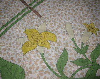 Vintage Flat Sheet Twin Size, JC Penny Fashion Manor, Percale Penn-Prest, Retro Bed Linens, Brown Tan Green White Yellow Flowers Lilies Lily