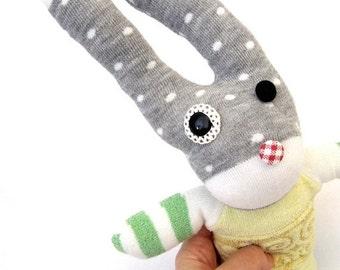 SALE Stuffed Rabbit Plush - Upcycled Recycled Repurposed Handmade Bunny Rabbit Stuffed Animal - Motorcycle Morrie