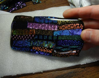 5.5 x 3 inch Fully Fused 90 COE Dichroic Glass Slab