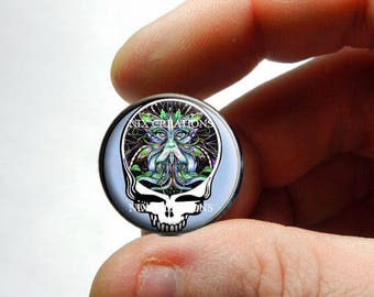 Glass Cabochon - Grateful Dead Steal Face Head Design 14 - for Jewelry and Pendant Making