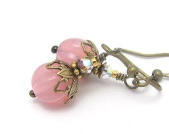 Rose Pink Earrings, Pink Earrings, Czech Glass Jewelry, Clip On Earrings, Beaded Earrings, Pink Bridal Wedding, Dainty Earrings, Hawaiibeads
