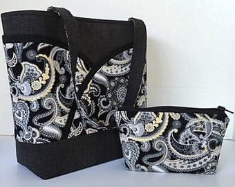 SALE handbag, tote bag, shoulder bag, with pockets, purse, pocketbook, black, white,